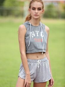 Grey Striped Casual Tie Waist Shorts