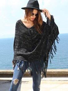 Black Long Sleeve Tassel Hem Sweater Cape