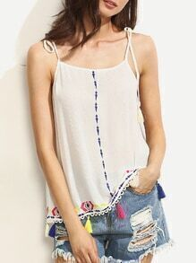 White Embroidered Tassel Tie Shoulder Cami Top