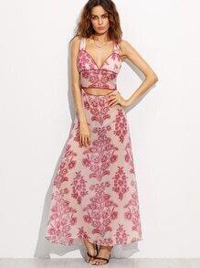 Floral Print Strap Cut Out Open Back Dress