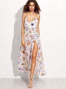 White Floral Print Ruffle Backless High Slit Dress