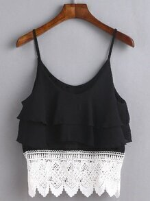 Contrast Lace Trim Tiered Cami Top