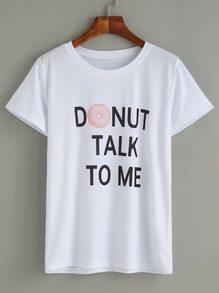 White Donut And Slogan Print T-shirt