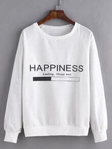 White Letter Print Raglan Sleeve Sweatshirt