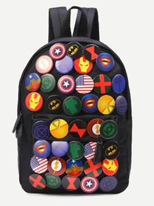 Black Pin Badge Embellished Nylon Backpack