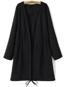 Black Quilted Shoulder Patch Drawstring Coat