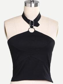 Black Halter Ring Accent Top