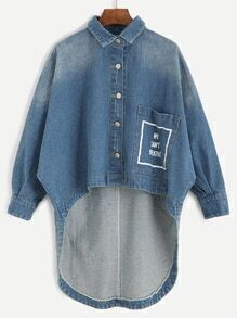 Blue Letter Print High Low Denim Coat