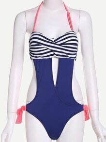 Multicolor Striped Crossover Front Tie Side One Piece Swimwear