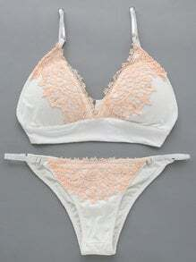 White Lace Overlay Push Up Bikini Set