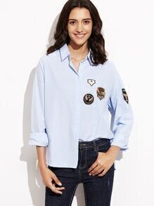Blue Dip Hem Patch Blouse With Buttons