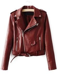 Burgundy Faux Leather Belted Moto Jacket With Zipper