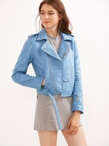 BLue Faux Leather Moto Jacket With Zipper
