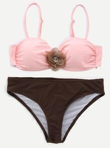 Pink Color Block Flower Embellished Push UP Bikini Set