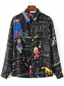 Black Cartoon Print Buttons Front Blouse