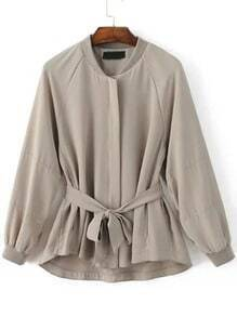 Light Grey Raglan Sleeve Self Tie Embroidery Patch Coat