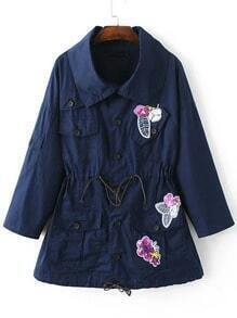Navy Drop Shoulder Patch Drawstring Coat With Buttons
