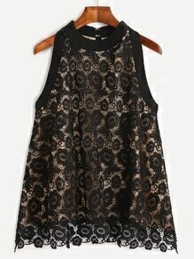 Black Lace Overlay Top