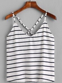 White Striped Criss Cross Back Cami Top