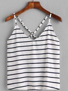 White Striped Criss Cross Back Cami Top