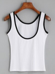 White Contrast Trim Tank Top