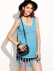 Blue Eyelet Fringe Knit Tank Top