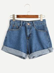 Blue Cuffed Denim Shorts