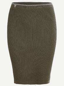 Army Green Striped Waist Ribbed Knit Bodycon Skirt