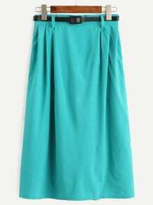 Turquoise Midi Pleated Skirt With Zipper