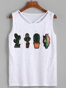 White Cactus Sequined Cutout Distressed Tank Top