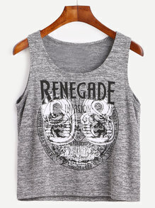 Heather Grey Letter And Number Print Tank Top