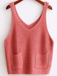 Pink Strap Knit Cami Top With Pocket