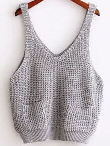 Grey Strap Knit Cami Top With Pocket