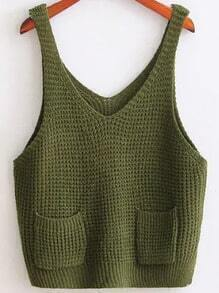 Army Green Strap Knit Cami Top With Pocket