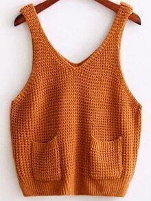 Khaki Strap Knit Cami Top With Pocket
