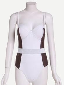 White Color Block Push Up One Piece Swimwear