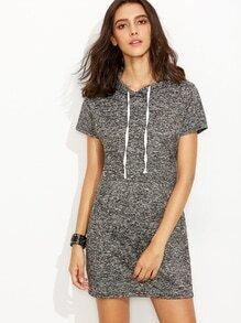 Grey Drawsting Hooded Dress With Pocket