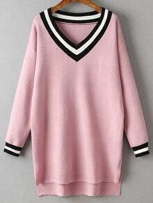 Pink Striped Trim Split Side Knit High Low Dress