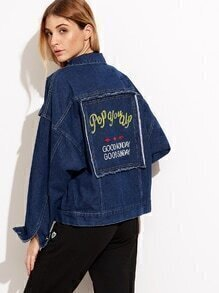 Blue Letter Embroidery Single Breasted Jacket With Pocket