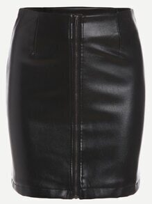 Black Faux Leather Zipper Front Bodycon Skirt