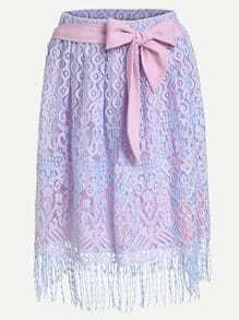Self Tie Fringe Lace Overlay Skirt