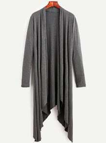 Grey Drape Front Asymmetrical Coat