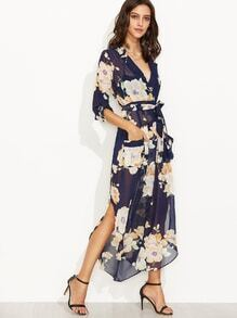 Navy Floral Print Self Tie Wrap Chiffon Dress