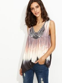 Deep V Neck Tribal Print Asymmetrical Vest