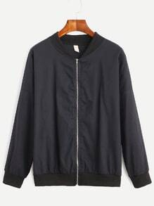 Black Drop Shoulder Zipped Bomber Jacket