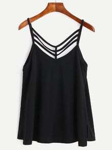 Black Cut Out Strappy Split Side Caim Top