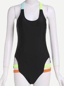 Black Criss Cross Cut Out One Piece Swimwear