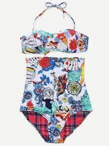Multicolor Halter Printed Tie Back Bikini Set