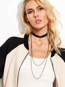 Chain Layered Pearl Faux Leather Choker Necklace