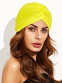 Yellow Pleated Turban Hat